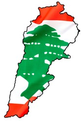 Happy independence day, patriotism and national pride concept with Lebanese flag superimposed on the map contour of Lebanon isolated on white background with clipping path cutout