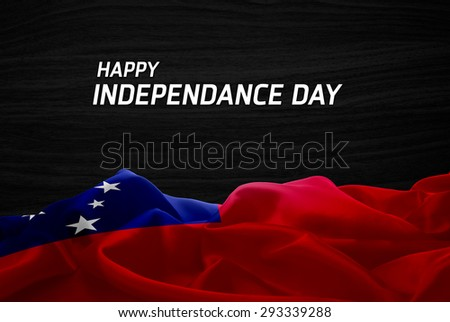 Happy Independence Day Samoa flag and wood background #293339288