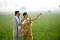 Happy Indian couple farmers examining crop in agricultural field
