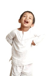 Happy Indian kid in traditional dress