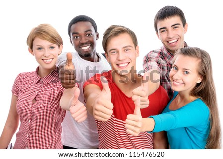 Happy international group of student shows thumb up