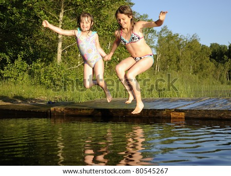 Happy jumpers - stock photo