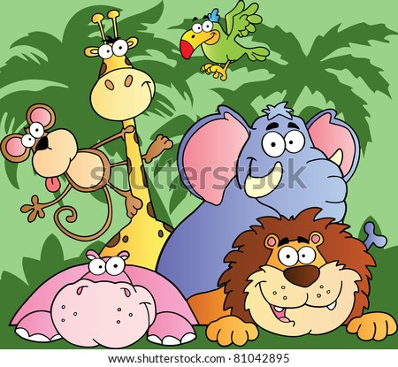 Happy Jungle Animals Raster Illustration.Vector version is also available