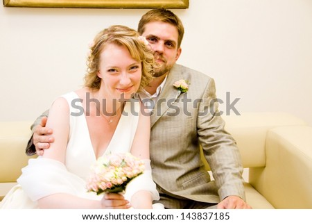 Happy just married couple