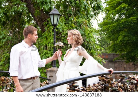 Happy just married couple standing on the small bridge
