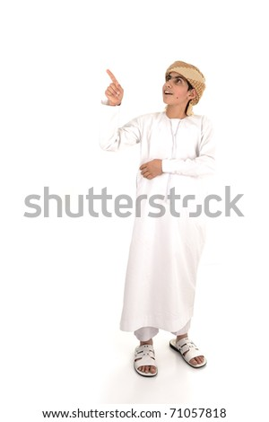 Happy kid boy on white background  with his finger for your text