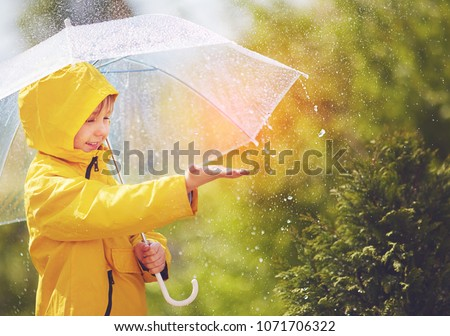 Photo of  happy kid catching rain drops in spring park