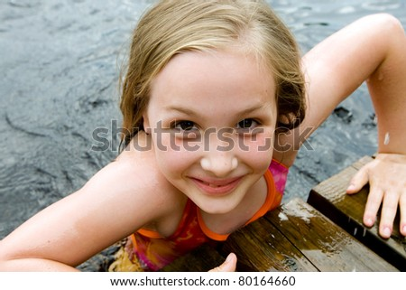 Happy Kid in a lake