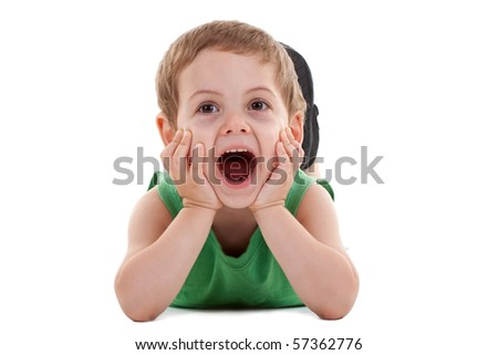 happy kid play on floor, screaming on white