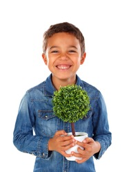 Happy kid with a beautiful plant for his mother isolated on a white background