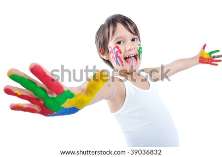 Happy kid with colors on hands