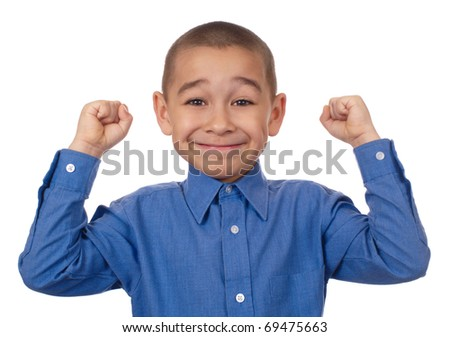 Happy kid with hands raised, victory, seven years old, isolated on pure white background