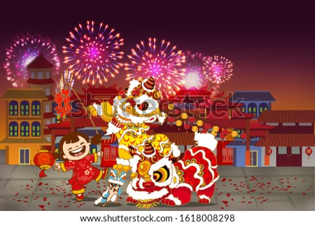 Happy kid with lion dance during Chinese New Year festive Foto stock ©