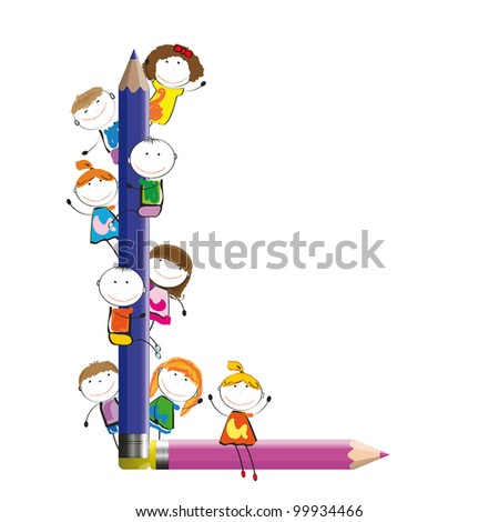 Happy kids and letter L with crayons