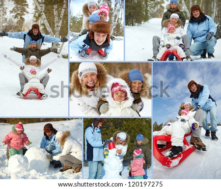 Happy kids and their parents spending leisure in winter park