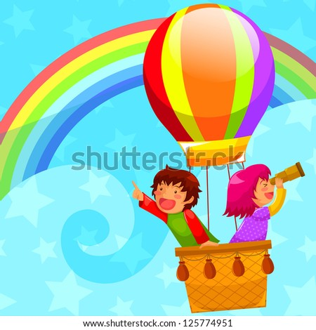 happy kids flying in a hot air balloon (vector available in my gallery)