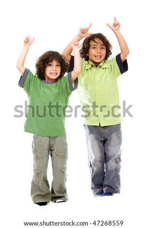 Happy kids isolated with arms up over a white background
