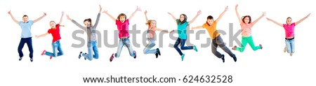 Happy kids jumping #624632528