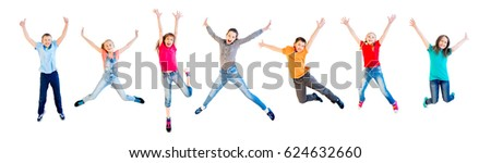 Happy kids jumping #624632660