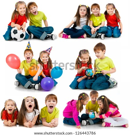happy kids on a white background. collage