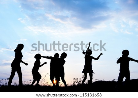 Happy kids playing on hot summertime