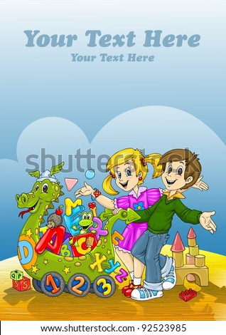 Happy Kids Toys World - Book Cover Template