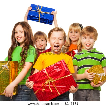 Happy kids with Christmas presents isolated on white