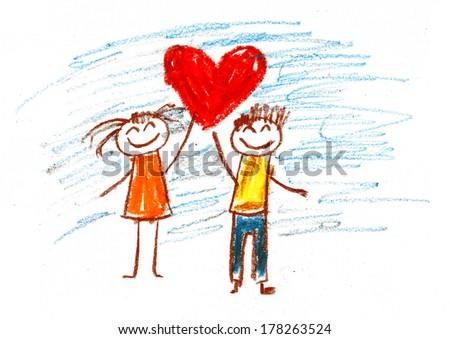 Happy kids with heart. International Children\'s Day