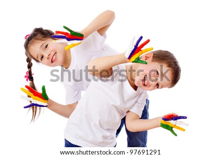 Happy kids with painted hands, isolated on white