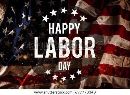 Happy Labor day banner, american patriotic background #697773343