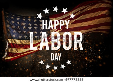 Happy Labor day banner, american patriotic background #697773358
