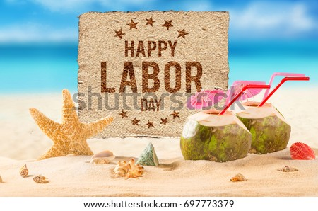 Happy Labor day banner, american patriotic background #697773379