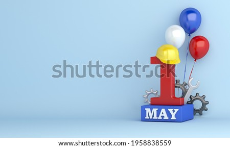 Happy Labor Day or may day decoration background with 1st May and hard hat construction helmet balloon, copy space, 3D rendering illustration