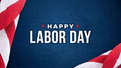 Happy Labor Day Text Over Dark Blue Background Texture with Patriotic American Flags