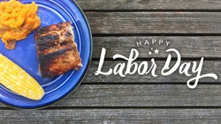 Happy Labor Day Typography Over Wood Background with Grilled Food