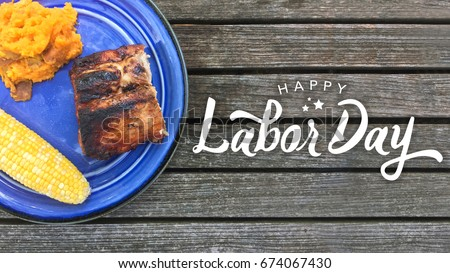 Happy Labor Day Typography Over Wood Background with Grilled Food #674067430