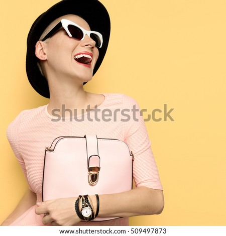 happy lady stylish retro hat...