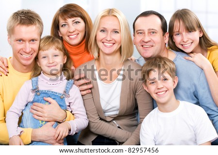 Happy large family  looking at camera