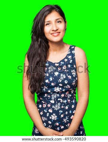 happy latin woman stock photo