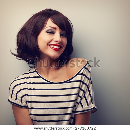 happy laughing young woman with ...