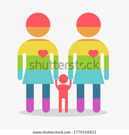 Happy lesbians family icon. Gay woman icon. Gay couple. Conceptual image of gay love and gay family. Objects isolated on a white background. Flat illustration.