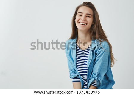 Happy lifestyle, wellbeing concept. Charming carefree smiling attractive woman laughing out loud feeling lucky upbeat, having awesome vacation day-off enjoying leisure, having fun white background #1375430975