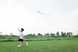 happy little Asian boy with a kite running on meadow in summer in nature