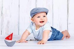 Happy little baby sailor