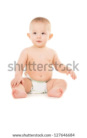 happy little baby sits on the floor isolated on white background - stock photo