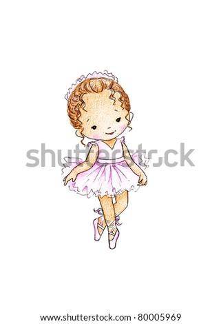 happy little ballerina in pink dress on white background