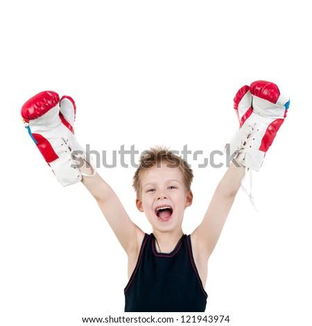 happy little boy boxer winner