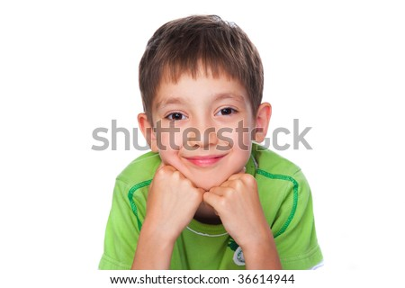 happy little boy in green t-shirt