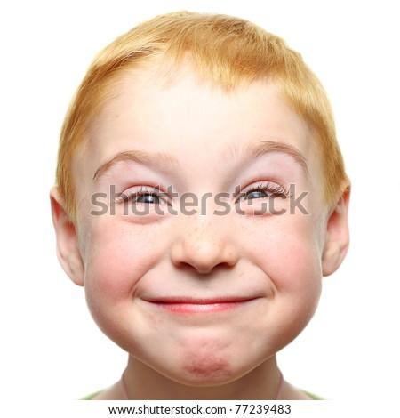 Happy little boy isolated - stock photo