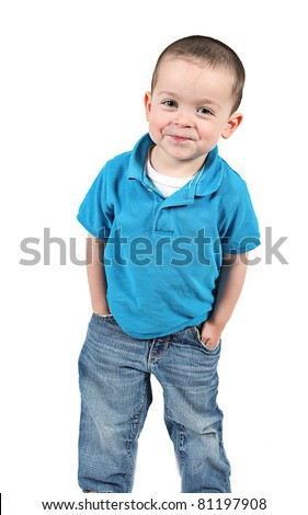 Happy Little boy with a smile, isolated on white background